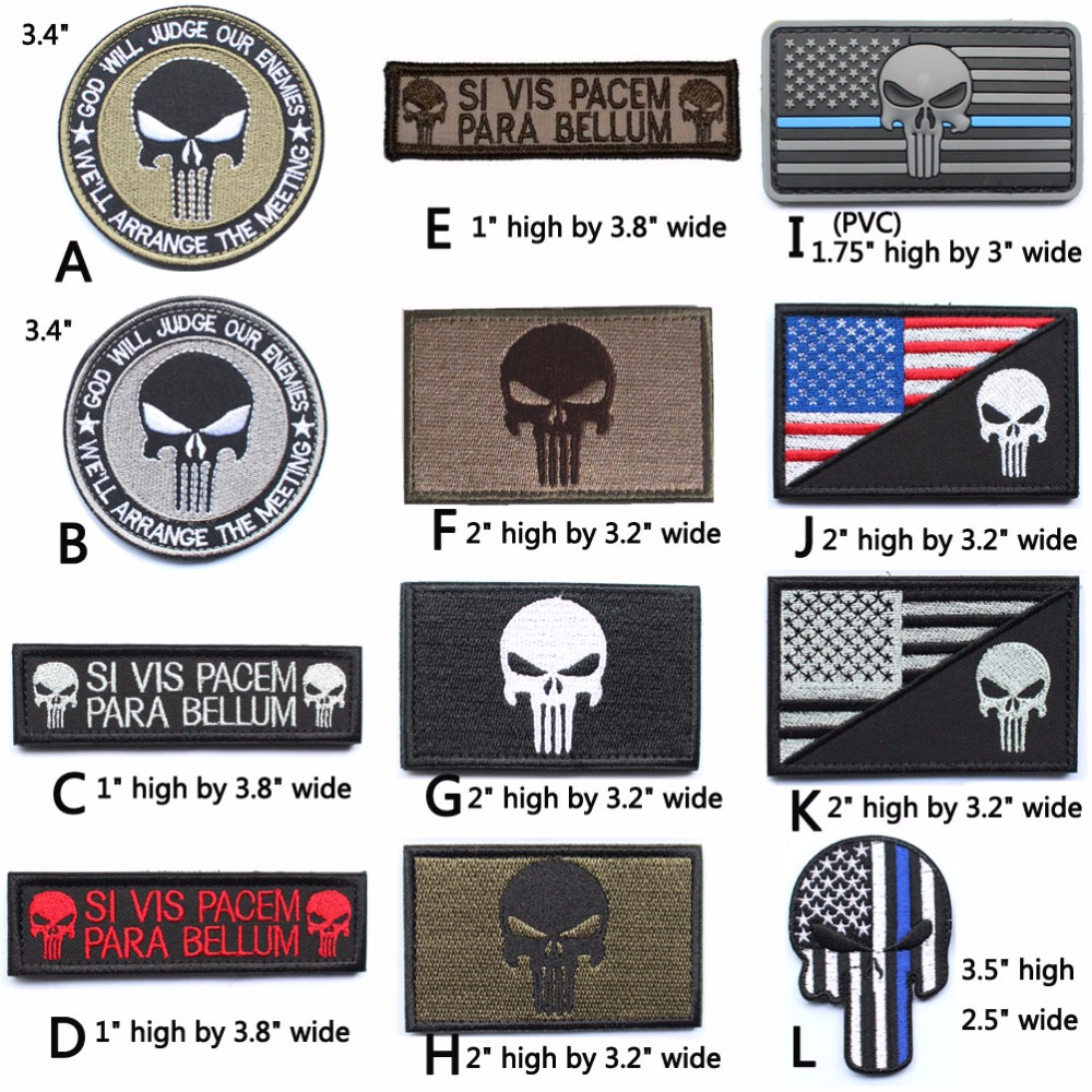 Punisher Skull Patches patch militare American USA Sottile linea blu - Arti, mestieri e cucito