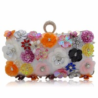 New Unique Wallet Fashion Pink Sequins Beaded Clutch High Grade Ladies Evening Bag Beaded Flower Stereo