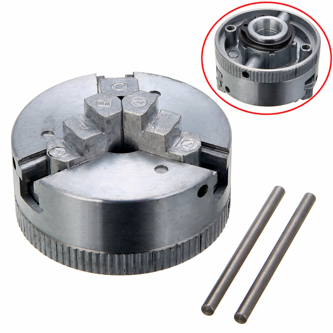 все цены на 1pc Self-centering Lathe Parts 3 Jaw Metal Lathe Chuck M12x1 45mm with 2pcs Lock Rods For Power Tools онлайн