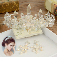 high end pearl special beads bride crown headdress column crystal wedding bridal hair jewelry crown women