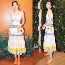New 2019 Lace Dress Female Summer Colouring Splice Mesh Hollow Strap Holiday Long