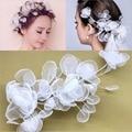 Hot Sale Wedding Bridal Tiaras Hair Accessories Ribbon Flower Net Yarn Crown Hair Ornaments Hairpins Pearl Hair Clips Party