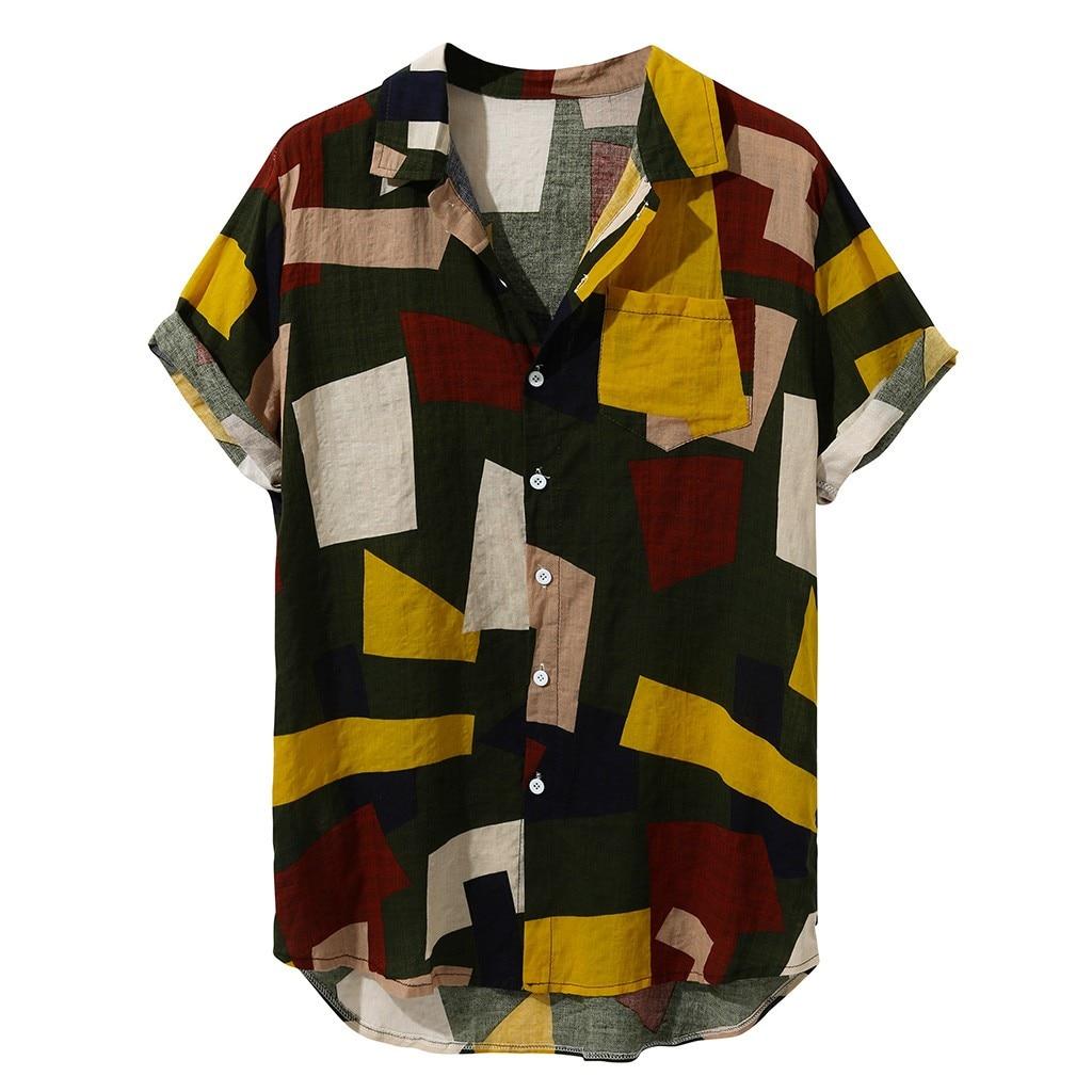 Womail Hawaiian Shirts Linen Shirts Men Button Short Sleeve Round Casual  Loose Short Sleeve Casual Buttons Men Shirt Summer Top Рубашка