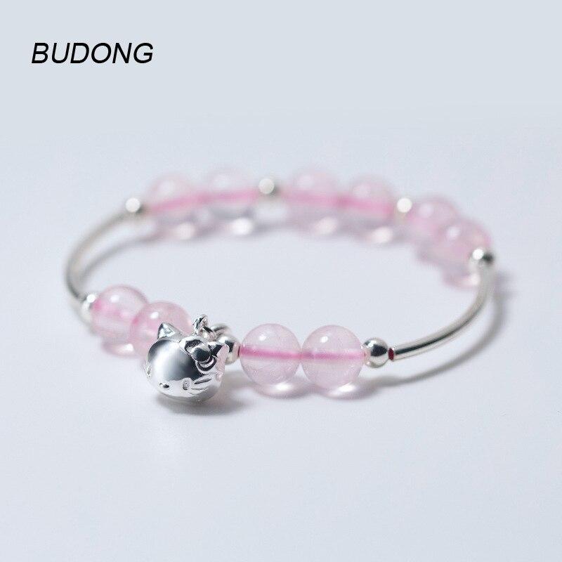 Budong розовый кристалл 825 Серебряный браслет для Для женщин с 925 Серебряный Kity кошка колокол милый Ювелирные украшения регулируемая цепь