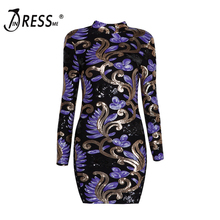INDRESSME 2017 New Spring Women Stand Neck Long Sleeve Sequined Print Vintage Bodycon Sheath Party Dresses