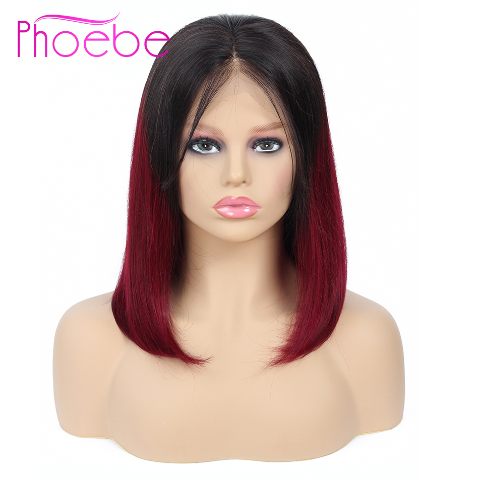 Phoebe 13x4 Lace Front Human Hair Wigs Ombre 1B 99J Short Human Hair Wigs with Baby