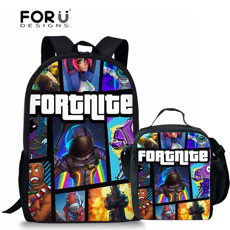 FORUDESIGNS School Bags Fortnite Games Pattern School Backpack for Girls Boys Orthopedic Schoolbag Backpacks Children Book Bag