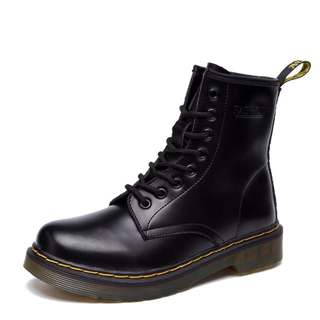 Martins Dr mulheres Botas Martins Doc 2016 Britânico Do Vintage Verdadeiro Clássico Sapatos Da Motocicleta das Mulheres Martin Botas de Salto Grosso Do Sexo Feminino