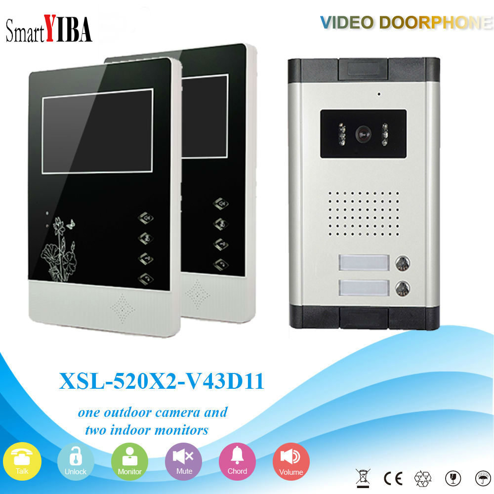 SmartYIBA 2 Units Doorbell Doorphone Door Bell Intercom Kits 4.3 Handfree Video Intercom System Apartment Access Door Camera