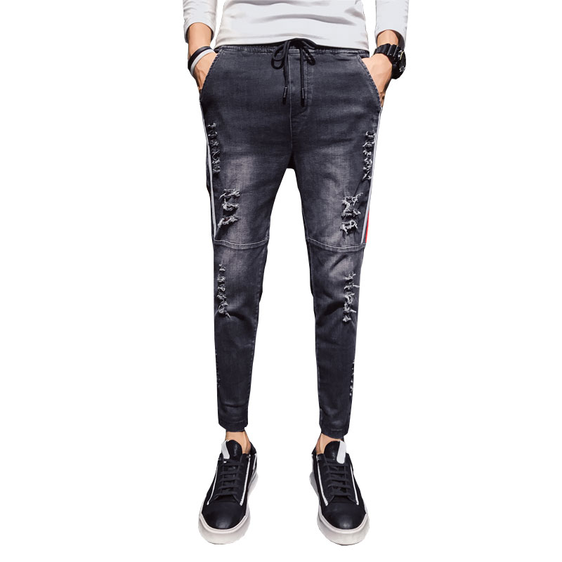 Men's   jeans   casual men's spring and autumn models youth spirits Slim hole tide section social guys 9 pants