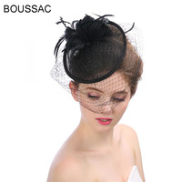 2018 Charming Female Lady Classic Fascinator Hair Pillbox Hat Sombrero Veils Feather Cocktail Party Wedding Church Fedora KNCH13