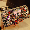 2017 Hot Sale Long Polyester New South Korea With Diamond Ladies Purse Zipper Wallet Mobile Phone Bills Crystal Personality