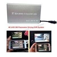 4 K UHD 360 панорамная система DVR для вождения поддержка управления приложением wifi переключатель ночного видения коробка с передней задней лево