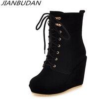 JIANBUDAN / Platform wedge high heel sexy autumn women's boots Lace Up Fashion evening shoes 11cm high heel boots 34 43 size