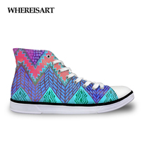 WHEREISART 2019 Autumn Fashion Chevron New Design High Top Lace up Women Canvas Shoes Woman Sneakers Vulcanize Flats Zapatos