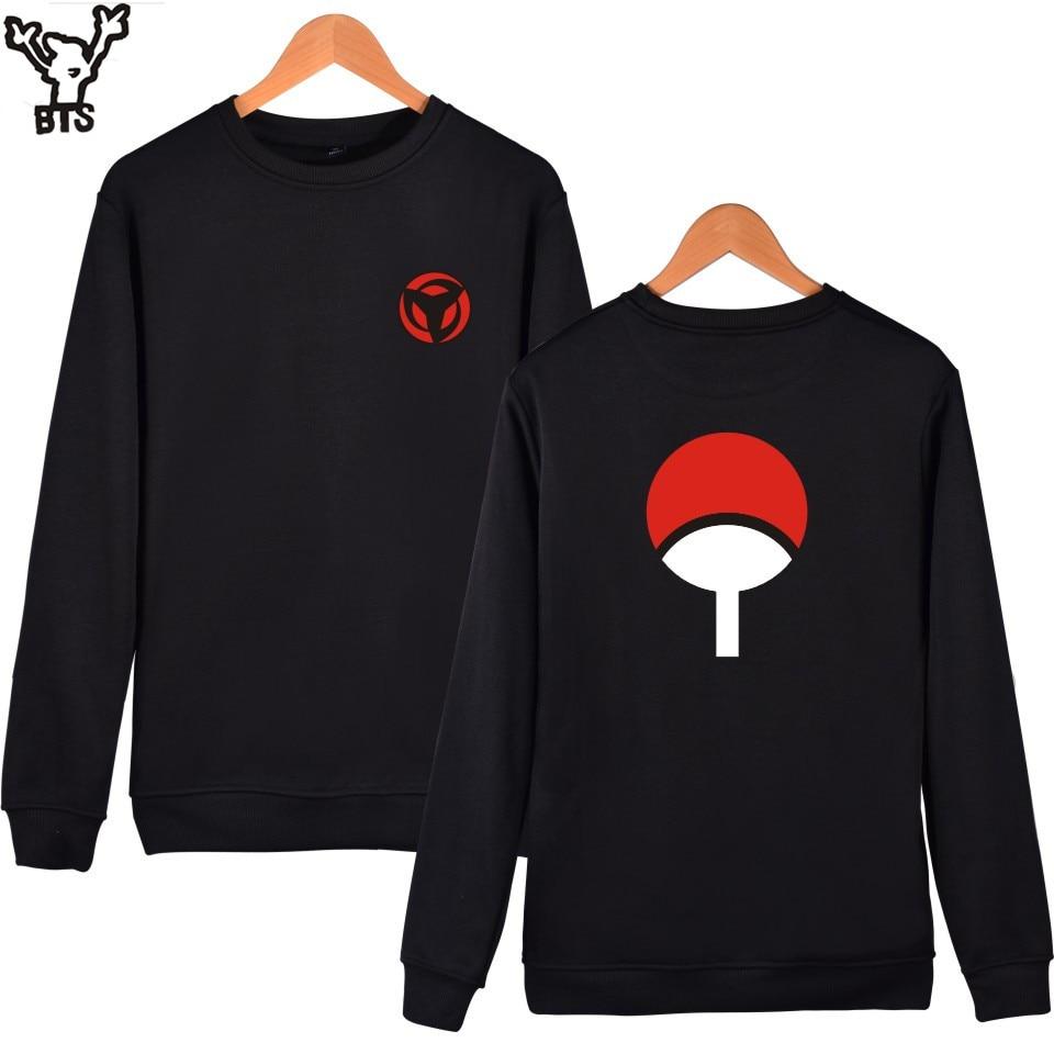 BTS Naruto Klasszikus Anime Capless kapucnis pulóverek és pulóverek pároknak Divat Winte kapucnis férfiak Uchiha Syaringan Vicces ruhák