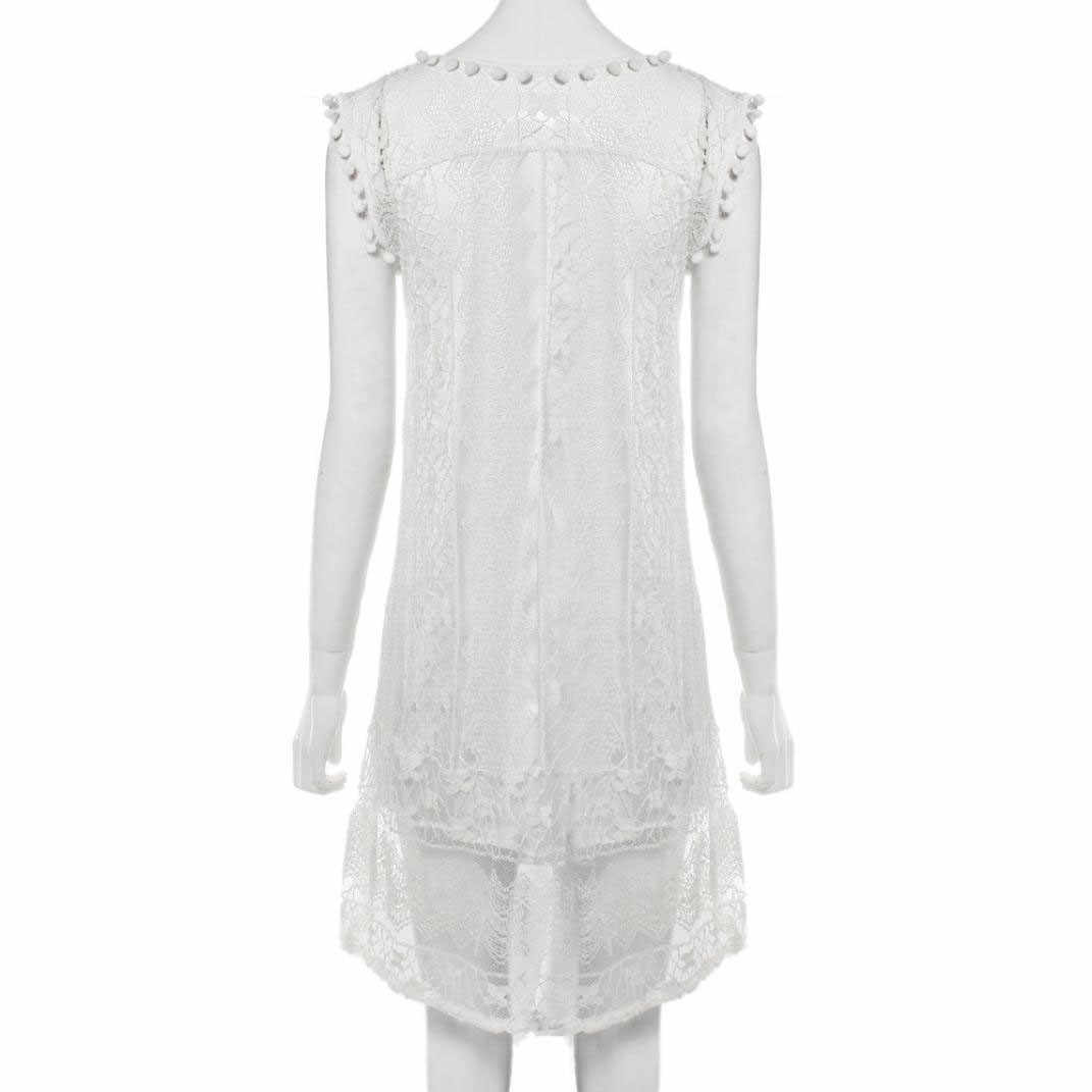 Zomer Strand Jurk Badpak Cover Up Mouwloze Kant Rok Jurk Plus Size Cover Up Witte Strand DressVestido Playa # D