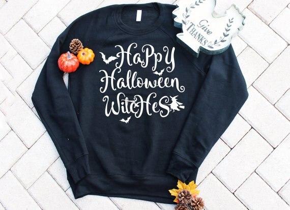 Happy Halloween Witches Crewneck Halloween Family holiday Sweatshirt Long Sleeve Cotton Funny Jumper Pumpkin Trendy Tops