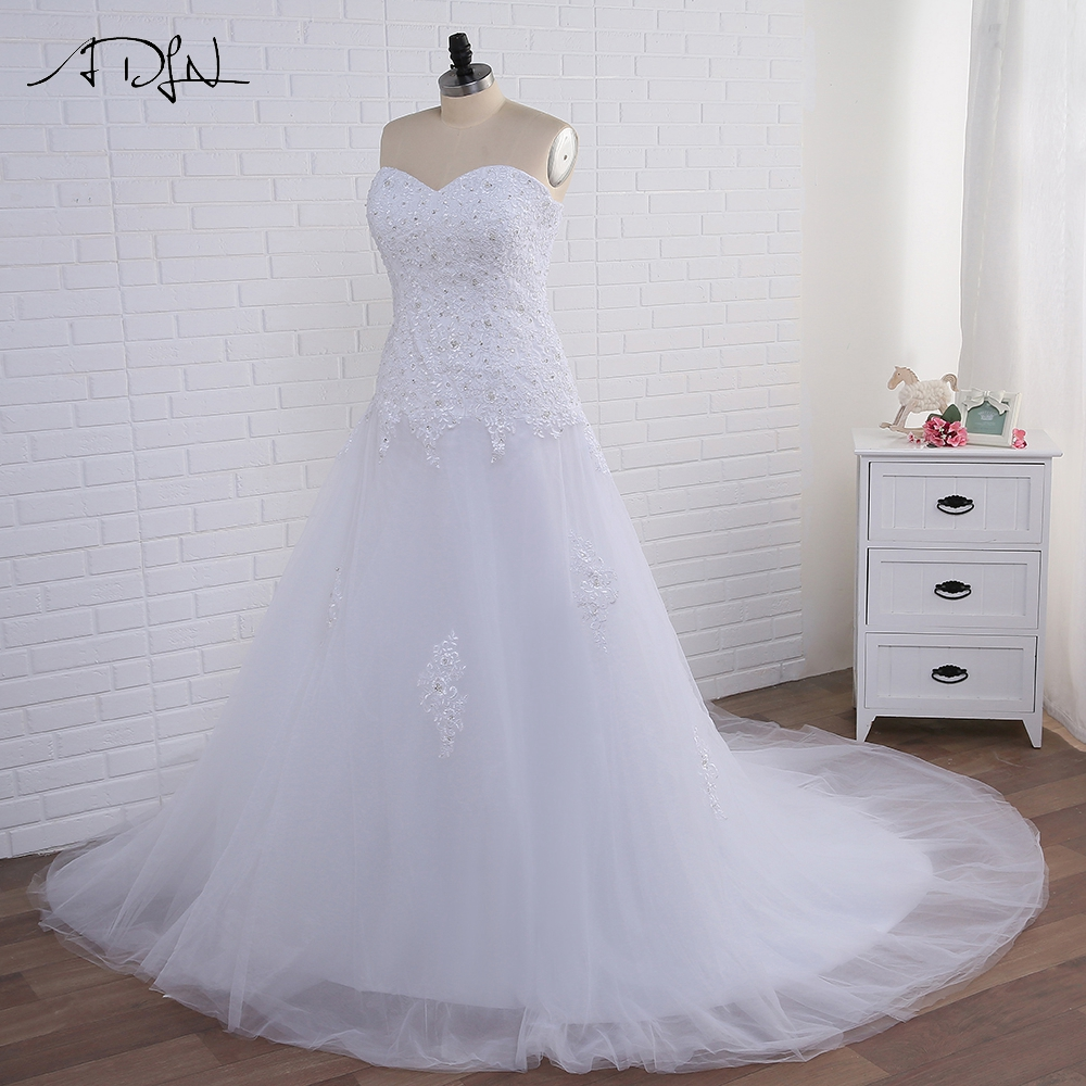 ADLN Plus Size Mermaid Wedding Dresses Big Wanita Kekasih Tanpa lengan manik-manik Sequin Gaun Tulle Bridal Gown Lace-up Kembali