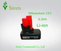 Nieuwe 4000 mAh Spare 12 V (10.8 V) Lithium Ion Oplaadbare Power Tool Batterij Vervanging voor Milwaukee M12 XC M12IR M12JS C12