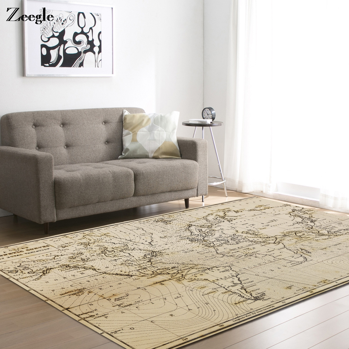 Zeegle World Map Pattern Carpets For Living Room Kids Bedroom Carpet Large Size Home Decor Mat Office Chair Floor Mats