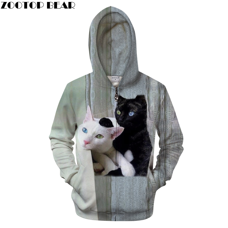 Black Cats Prints <font><b>Hoodies</b></font> <font><b>3D</b></font> <font><b>Animal</b></font> <font><b>Unisex</b></font> Hoody Zip Sweatshirt Autumn Zipper Winter Cloth Mens Drop Ship Hot Sells ZOOTOP BEAR image