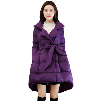New Fashion A-Line Women Winter Jacket Lace Up Down Cotton Jacket Coat Abrigo Mujer Lapel Parka Mujer Long Winter Jackets C5059
