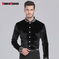 Mannen Ballroom Dance Shirt Zwart Spandex Latin Top Fluwelen Diamant Mannen Dance Shirt Voor Cha Cha/Rumba/Samba/Tango/Jazz/Waltz Dragen