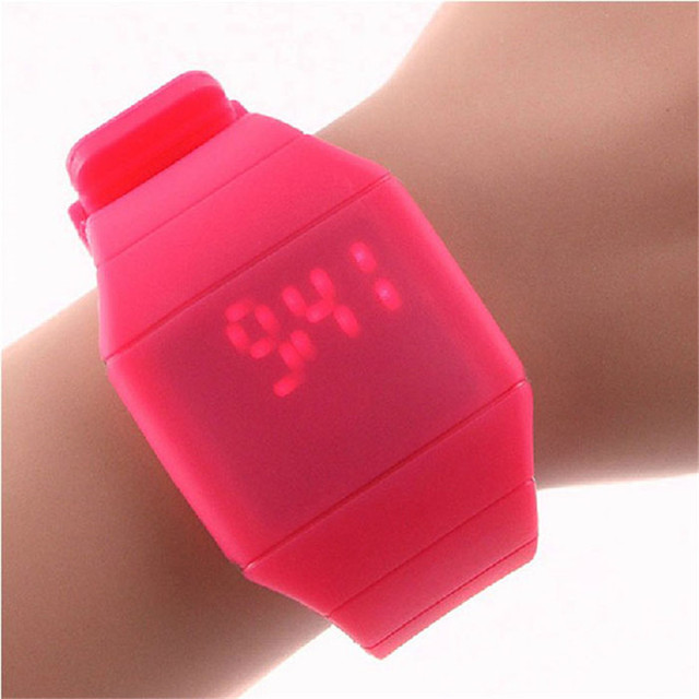 Perfect Gift Waterproof Mens Womens Digital LED Touch Sports Silicone Bracelet W