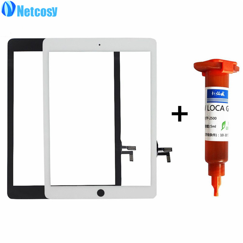 Netcosy For iPad Air Touchscreen High Quality Black & White Touch Screen Glass Digitizer Repair for iPad 5 panel+5mL UV Glue original touch screen digitizer for ipad mini2 white black new tp ic replacement glass screen