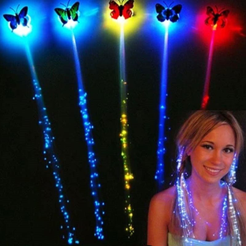 1PC Glow Blinking Hair Clip Flash Headwear Optical Fiber Wire Hairpin LED Braid Show Party Toys Kids Colorful Luminous Braid