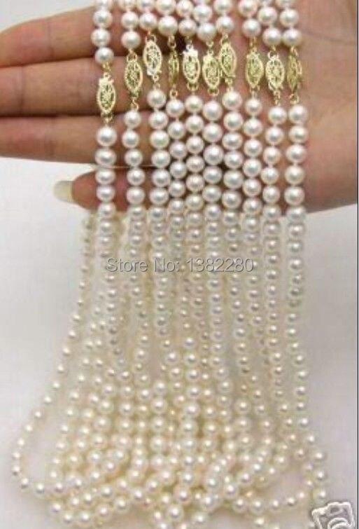 En gros 10 bande 7-8mm blanc perle collier chaîne poisson forme boutons 18 pouces bricolage à la main femmes mode bijoux faisant la conception
