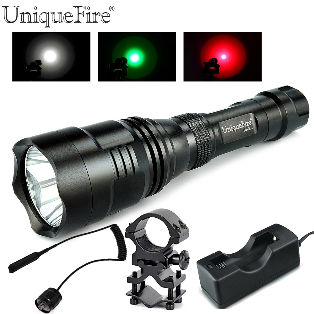 ФОТО Uniquefire Powerful LED Flashlight HS-801 Cree Q5 Waterproof Lamp Torch(Green/White/Red Light)+Gun Mount+Remote Pressure+Charger