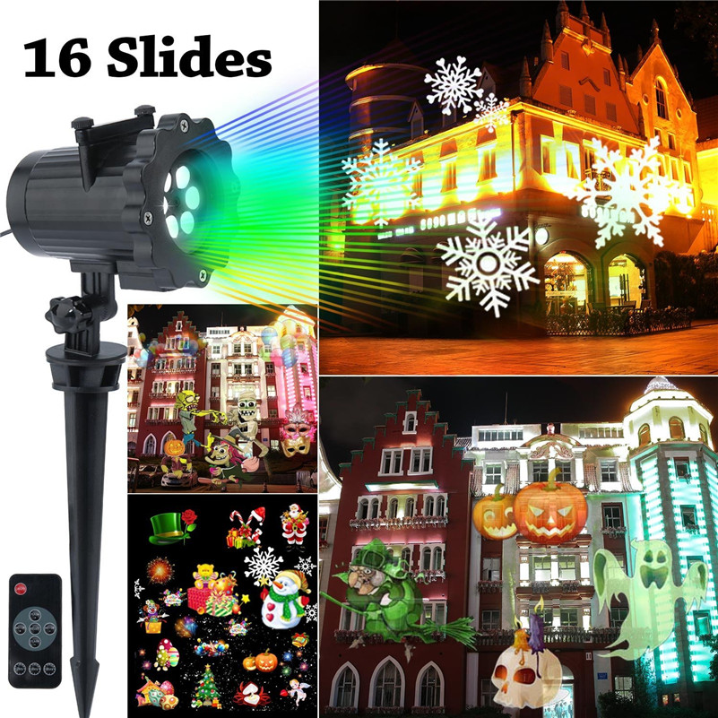 Tanbaby Led Christmas Light Projector Snowflake Spotlight With 16 Slides and Controller for  Halloween Holiday Party Decoration high quantity medicine detection type blood and marrow test slides
