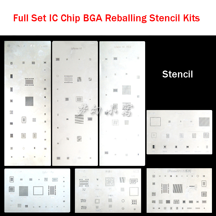цены  high quality full set IC Chip BGA Reballing Stencil Kits Set Solder template for iphone 4 4s 5 5s 6 6s Plus
