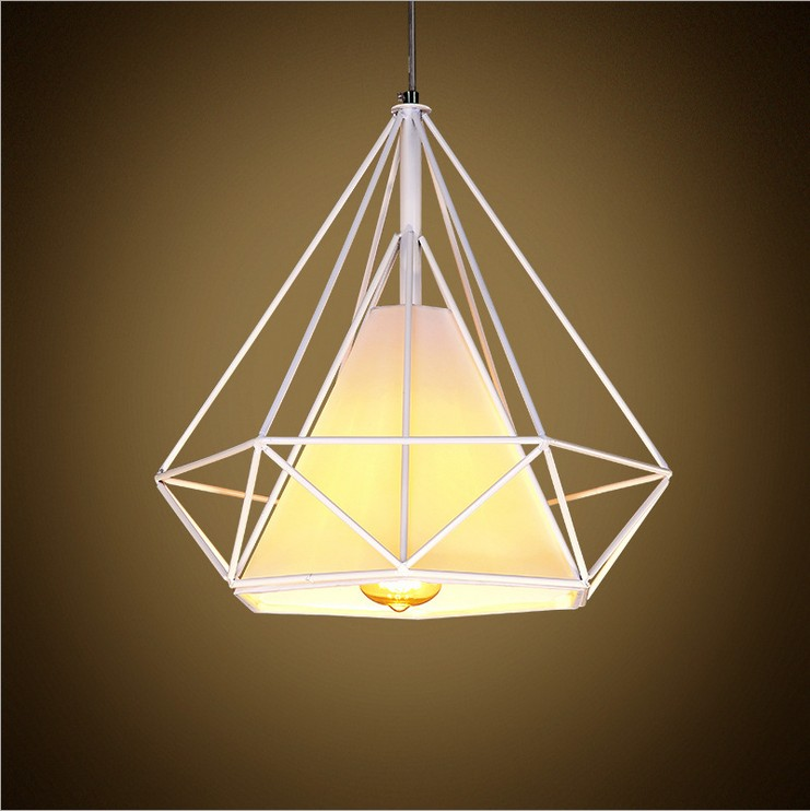 ФОТО Scandinavian modern minimalist retro American vintage diamond iron cage chandelier creative restaurant single head diamond lamp