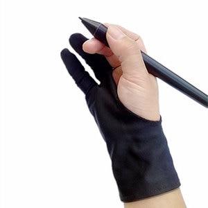 Image 2 - 100 قطعة قفاز الفنان بالجملة لرسم الأسود 2 إصبع مكافحة الحشف اللوحة الرقمية اللوحي الكتابة قفاز للطلاب الفن