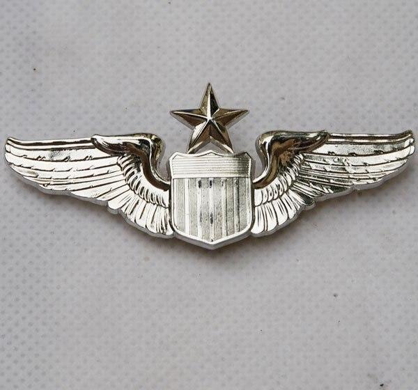 USAF U.S. AIR FORCE SENIOR PILOT METAL WING BADGE INSIGNIA SILVER-32209