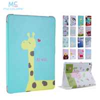 MediaPad T3 9 6 Slim PU Leather Case Cover 9 6 Colorful Print Protective Stand For