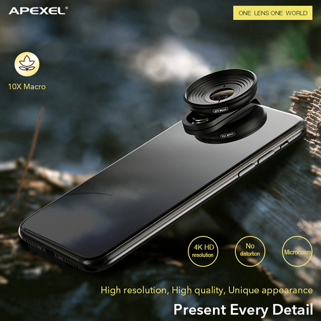 APEXEL HD 10X super macro lens micro lenses with universal clip for iPhonex xs max Samsung s9 Huawei all smartphone dropshipping 4