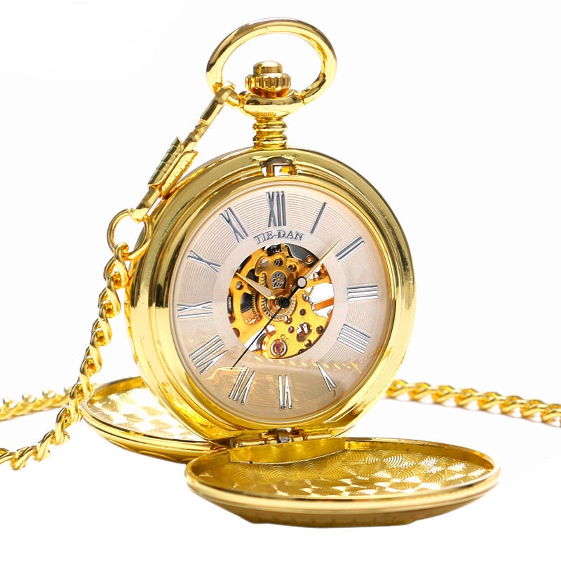 Steampunk Vintage Pocket Watch Clock Running Steam Train Double Hunter Mechanical Hand Wind FOB  Women Men Pendant Xmas Gift antique pocket watch transparent steampunk double open hunter gear mechanical hand wind fob time hours with chain pendant gift