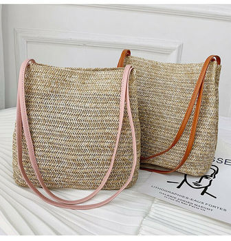 Bohemian women's shoulder bag fashion hand-woven rattan straw bag large capacity summer beach bag