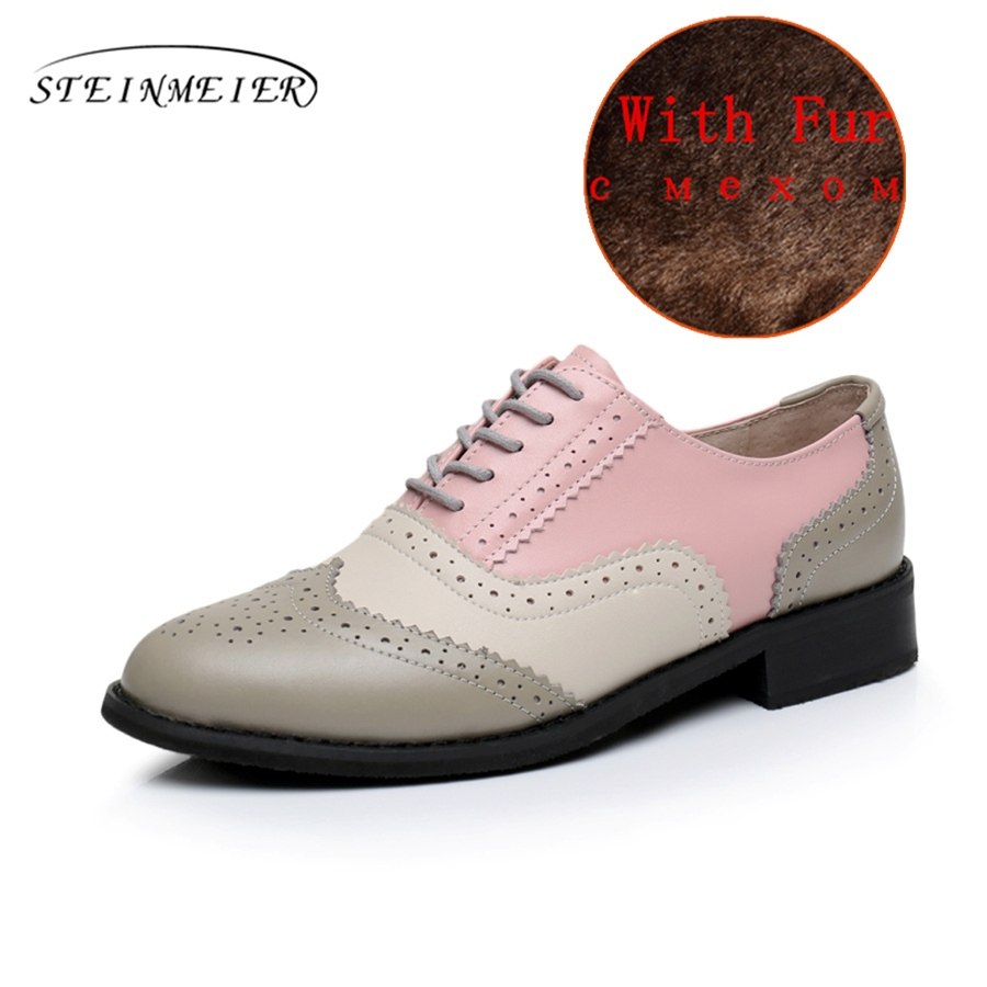 62bb72b1a96 Genuine leather big woman US size 11 designer vintage flat shoes round toe  handmade red white yellow oxford shoes for women fur