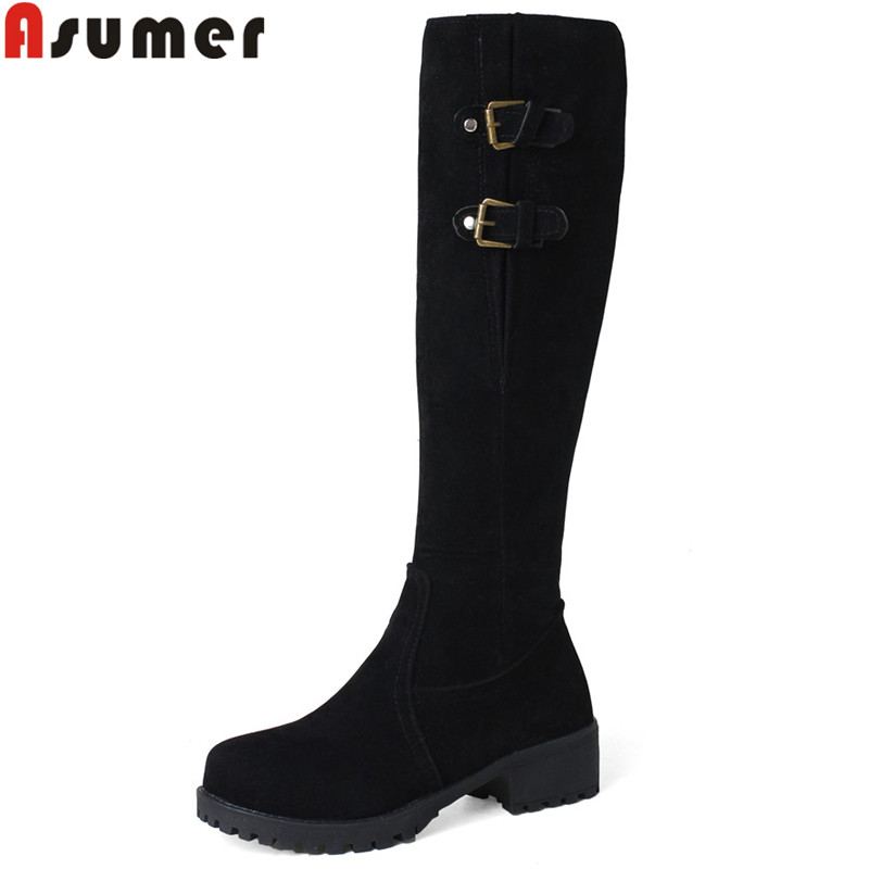 ASUMER black fashion 2018 new autumn winter boots round toe knee high boots square heel flock med heels women boots big size цена