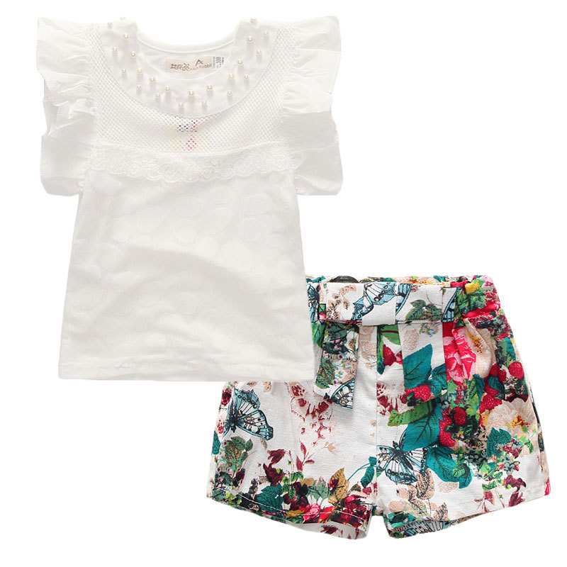 Summer Toddler Children Clothing White Shirts Floral Pants 2pcs Fashion Girls Clothes 3 4 5 6 7 8 9 Years Kids Suits girls in pants third summer