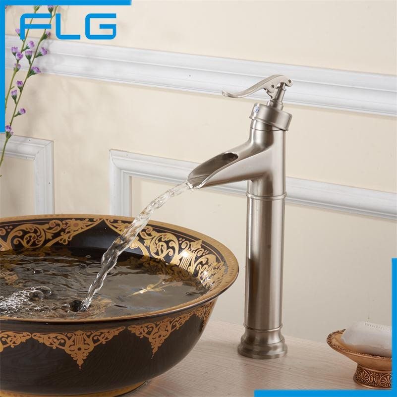 ФОТО Copper Faucet Waterfall Nickel Brushed Single Hole/ Handle Deck Mounted Mixer Taps for Basin Bathroom