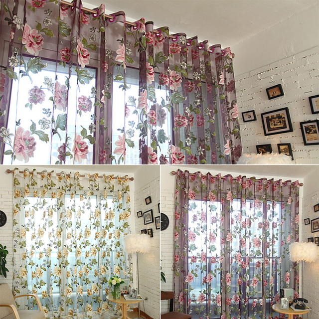 Large Purple Curtains Peony Beige Bedroom Living Room Bay Window
