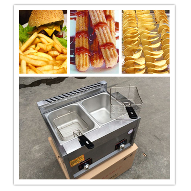 10L commercial stainless steel LPG gas deep fryer machine for churros french fries chicken twister spiral tornado potato ZF 220v 12l electric deep fryer for spiral potato twister potato tornado potato fry potato churros chicken