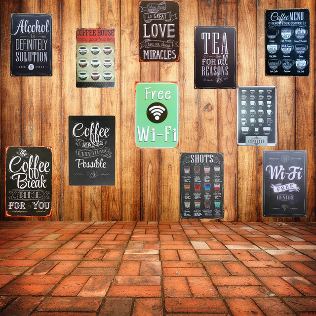 Free Wifi Shabby Chic Home Bar Cafe Vintage Wall Decor Art Metal Tin