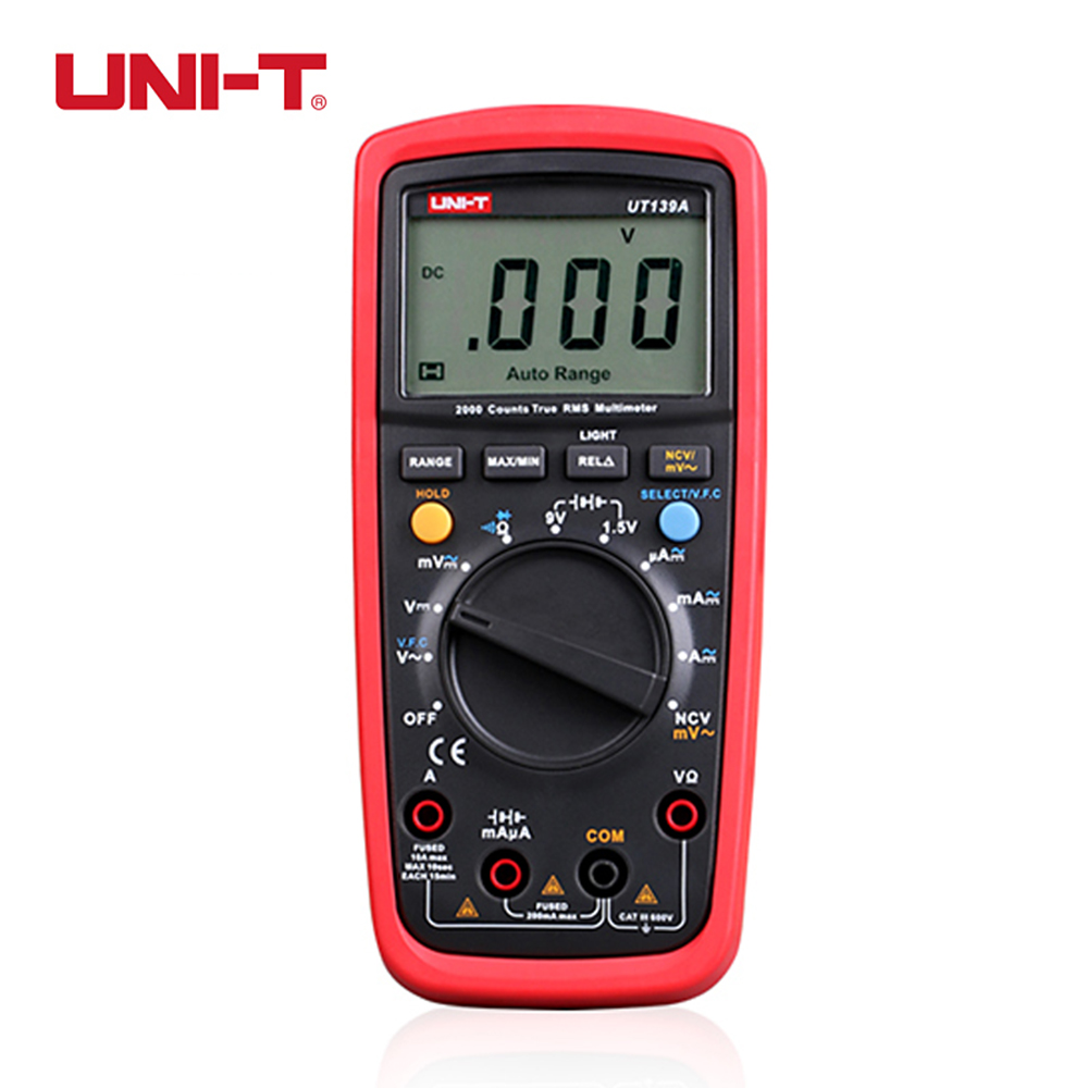 UNI-T UT139A Multimeter Auto Rang Digital True RMS NCV W Battery Tester Multimetro LCR Capacitance Resistance Meter Tester my68 handheld auto range digital multimeter dmm w capacitance frequency